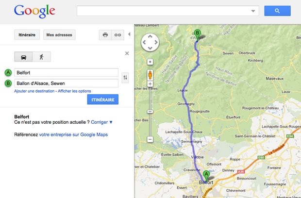 Google map Ballon d'Alsace
